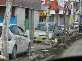 The main street around  Kesennuma-City Hospital  immediately following the disaster   (March 17th, 2011)